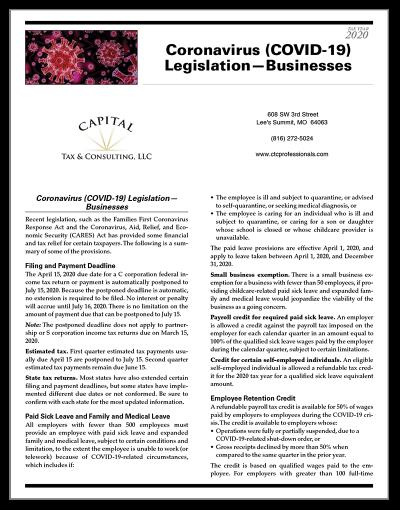 Screenshot of Coronavirus Resource Sheet for Businesses